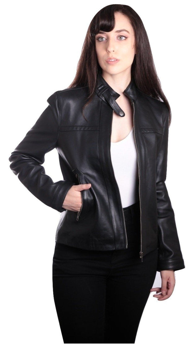 Womens Classic Black Straight Trendy Leather Jacket - FADCLOSET AU