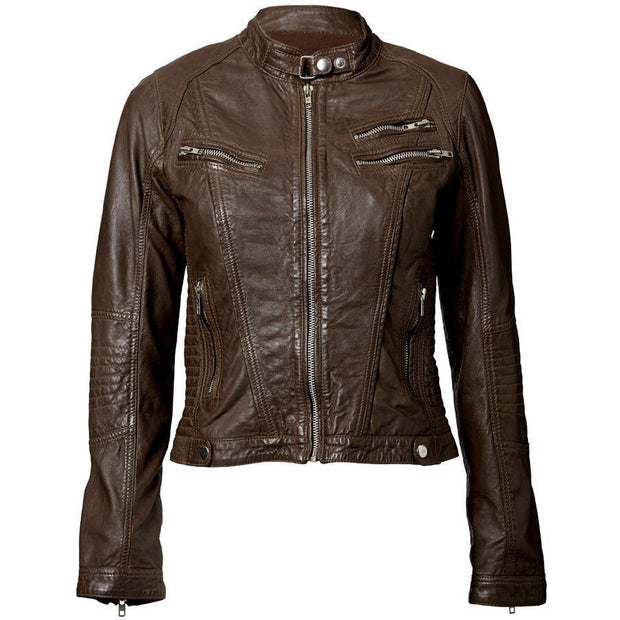 Womens Leather Jacket Brown with Exotic Crumpled Goatskin Leather - FADCLOSET AU