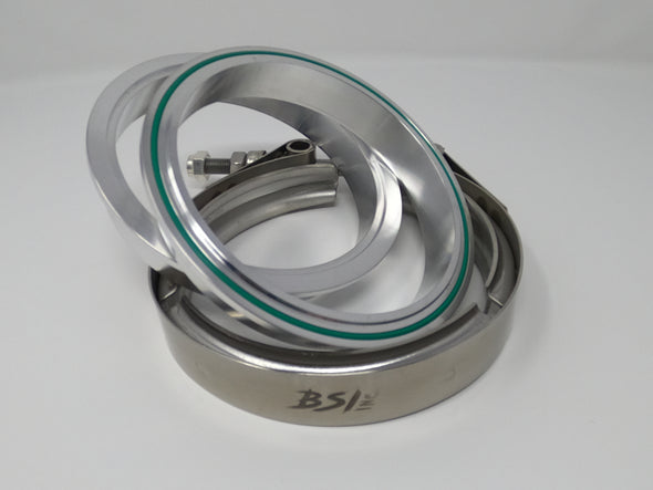 "3.0"" Aluminum V-Band Flange Assembly with Clamp - Black Sheep Industries Inc."