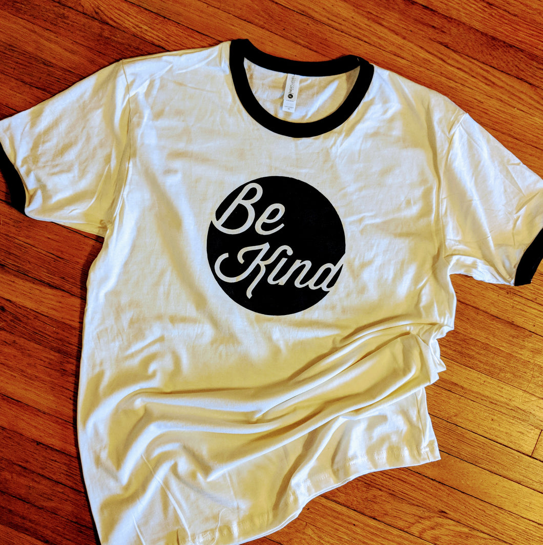 Natural/Black Be Kind ringer tee