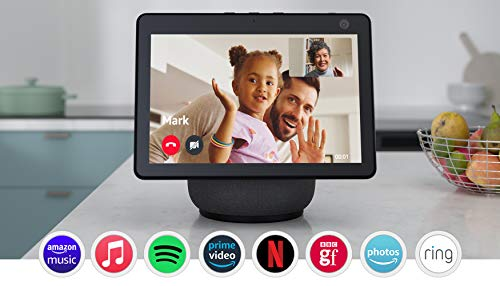 All-new Echo Show 10 (3rd generation) | HD smart display with motion and Alexa, Charcoal Fabric