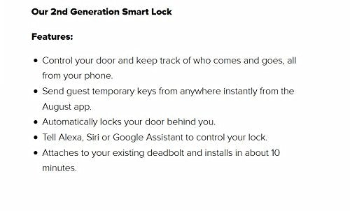 August Smart Lock (2nd Gen), Keyless home access, Silver, Compatible with Alexa