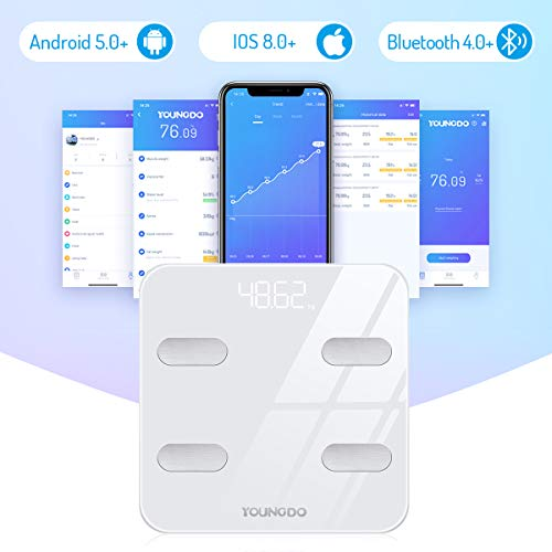 YOUNGDO Body Fat Scale [Upgraded Version to 23 Essential Measurements], Bluetooth Smart Bathroom Digital BMI Scales,Body Composition Analyzer Monitor High Precision Measuring for BMI, Body Weight etc