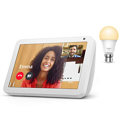 Echo Show 8, Sandstone Fabric + TP-Link Tapo smart bulb (B22), Works with Alexa