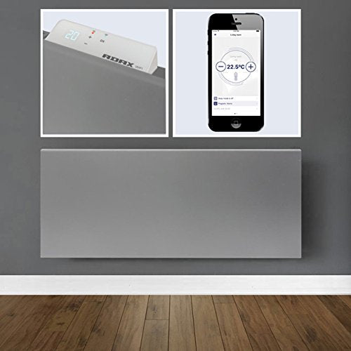 ADAX Neo Smart Wifi Electric Panel Heater/Convector Radiator With Timer. Smartphone Control, Splash Proof, Economic, Modern, Designer, 1400W, Lava Grey