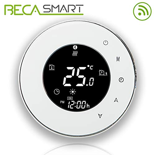 BecaSmart Series 6000 3A LCD Touch Screen Boiler Heating Intelligent Programming Control Thermostat with WiFi Connection (Boiler Heating, White(WiFi))