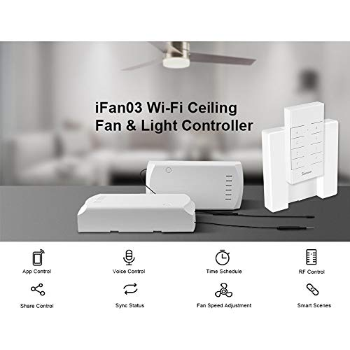 IFan03+RM433+Base Ceiling Fan Controller Smart Switch Controller with RF Remote & Base WiFi Smart Ceiling Fan Light Controller APP Remote Control ON/OFF Control Fan Compatible with Alexa