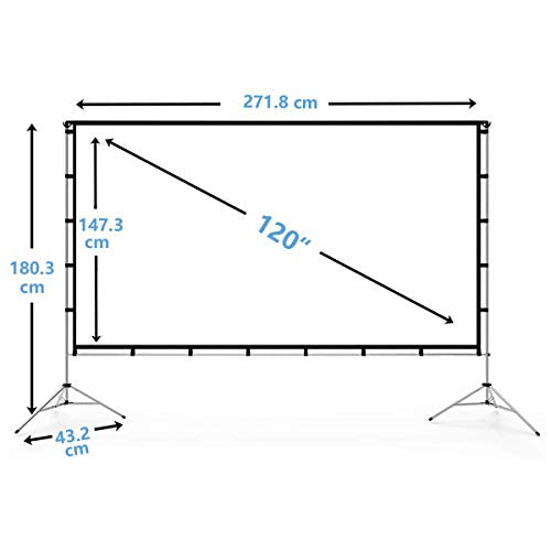 Vamvo Outdoor Indoor Projector Screen with Stand Foldable Portable Movie Screen 120 Inch (16:9) Full-Set Bag for Home Theater Camping and Recreational Events