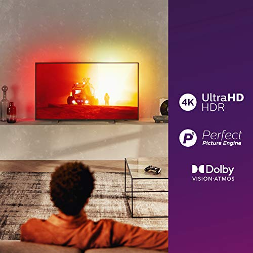 Philips Ambilight 58PUS7805/12 58-Inch LED TV (4K UHD, P5 Perfect Picture Engine, Dolby Vision, Dolby Atmos, HDR 10+, Alexa Built-In, Freeview Play, Saphi Smart TV) Plastic Gun Metal (2020/2021 Model)