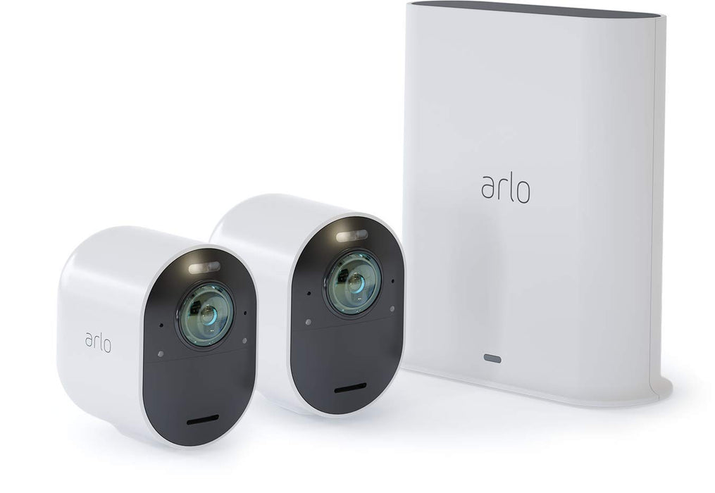 Arlo Ultra 4K UHD Wire-Free Security 2 Camera System, Indoor/Outdoor Security Cameras with Colour Night Vision, 180 Degree View, 2-Way Audio, Spotlight, Siren, (VMS5240)