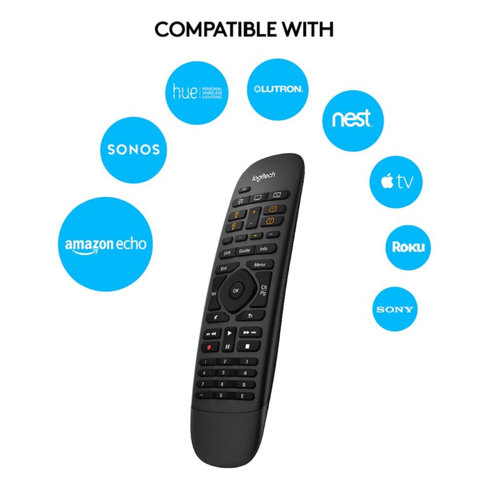 Logitech Harmony Companion All-in-One Remote Control For Smart Home and Entertainment Devices, Hub and App, Works with Alexa, Black