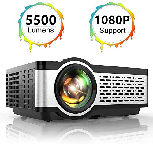 "Projector, TOPTRO Mini Projector 5500 Lumens Native 1080*720P Portable LCD Home Theater Video Projector Supports Full HD 1080P 200"" Display with HiFi Speaker, Metal Cover, LED 60000 Hours, Black"