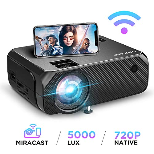 BOMAKER WiFi Video Projector, 5000 Lux Wireless Screen Mirroring Portable Projector, Full HD 1080p Home Movie Projector, Supports 300'' Display and HDMI USB VGA, for Android / iOS / Laptops / PCs