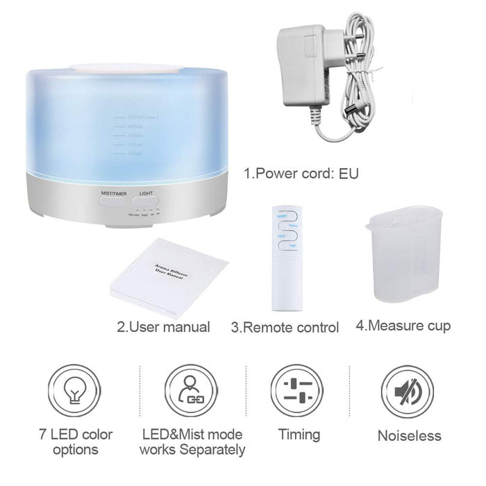 NEWKBO 500ml Smart Aroma Essential Oil Diffuser APP/WiFi Remote Control Humidifier Air Purifier 7 Changeable Colored LED Lights,Timer Settings, Ultra Quiet, Waterless Auto Shut-off for Yoga, Home, Spa