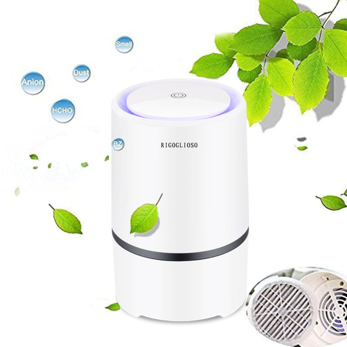 Portable Air Purifier for Home with True HEPA Filters, Desktop USB Air Cleaner, Air Ionizer Freshener for Cigarette Smoke, Allergies, Bacteria