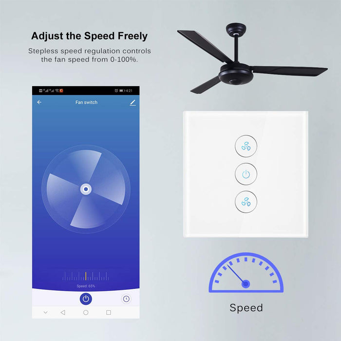 ALLOMN WiFi Fan Switch, Fan Speed Controller Fan Timer Compatible with Alexa Google Home App Remote Voice Control, Backlight Indicator, Timing Function, Speed Adjustable, No Hub Required