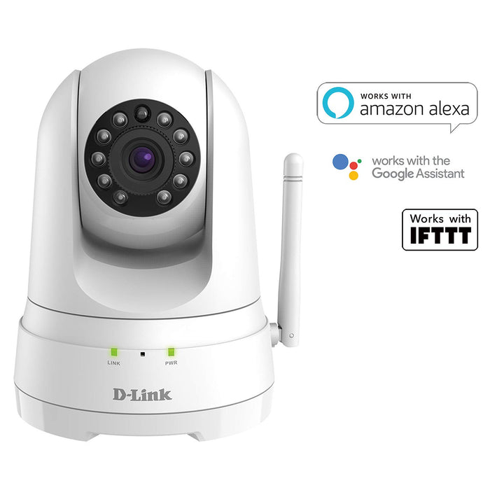 D-Link DCS-8525LH Indoor IP Surveillance Camera, 1080p Full HD, Pan & Tilt, Sound & Motion Detection, Day & Night Vision, Cloud or MicroSD Recording, 2-Way Audio, Alexa & Google Assistant Compatible