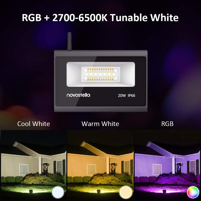 Novostella LED Smart Floodlight 2 Pack 20W, RGB + 2700-6500K Tunable White, 2000lm, Work with Alexa Google Home for Voice Control, WiFi Outdoor Garden Lighting, IP66, Dimmable Colour Decorative Light