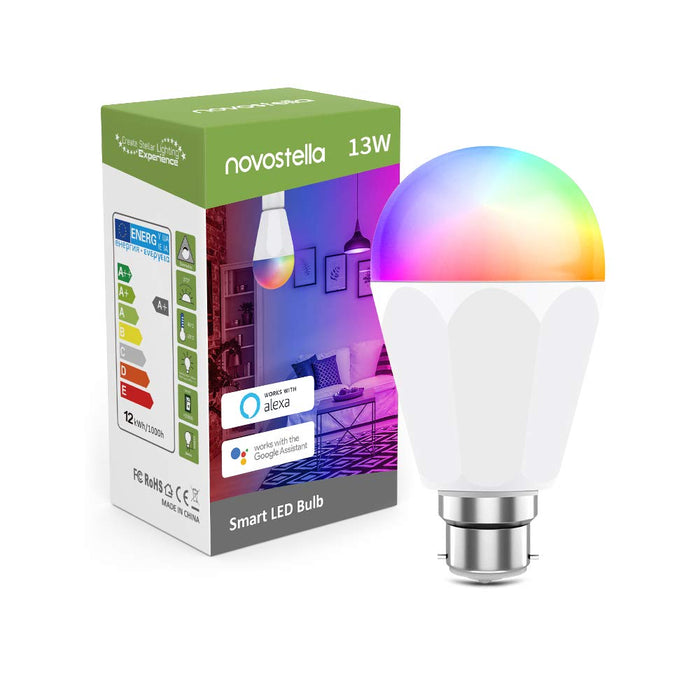 Novostella B22 LED Tunable Smart Bulb RGBCW, 1300lm 13W Brightest WiFi Bayonet Bulb, Dimmable, Work with Alexa Google Home (RGB+2700-6500K White, 120W Hal Bulb Equivalent, No Hub Required)