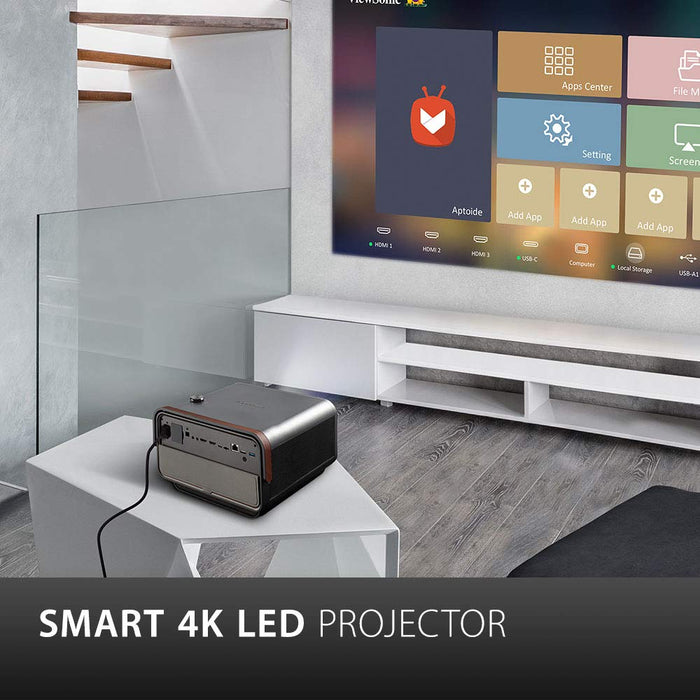 Viewsonic X10-4K UHD Short Throw Smart LED Projector with Dual Harman Kardon Speakers - Metallic Charcoal
