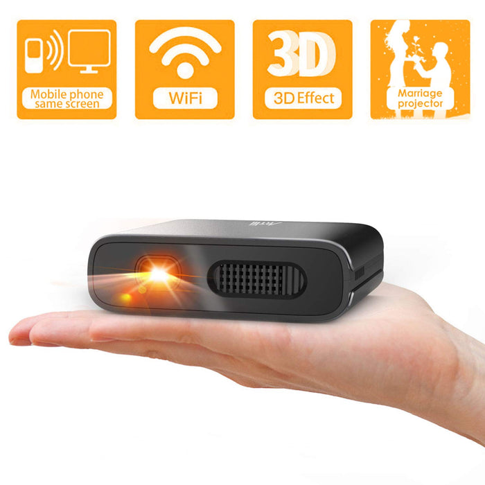 Mini Projector Artlii Portable Wifi DLP HD 3D Pico Pocket Projector Rechargeable Battery for Outdoor Entertainment and Home Theater Compatible with Smartphone and Android