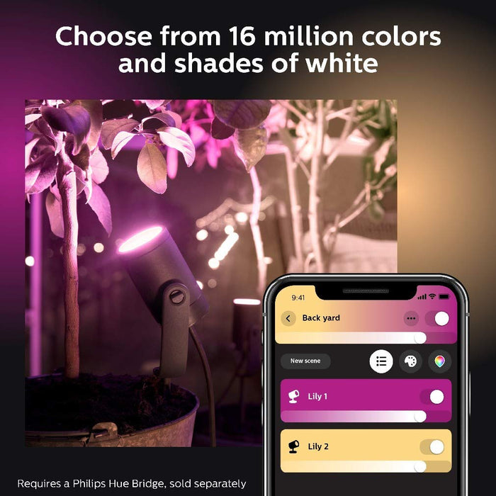 Philips Hue Lily White and Colour Ambiance Led Single Spotlight Extension: Smart Outdoor Lighting for Garden, Works with Alexa, Google Assistant and Apple Homekit