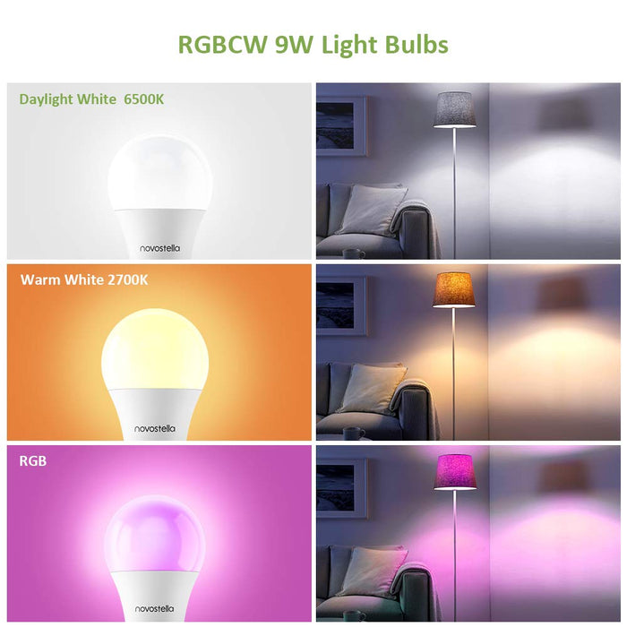 Novostella Smart Bulb B22, Colour Changing Light Bulb with Remote Control, Work with Alexa Google Home, Dimmable RGBCW (RGB+2700-6500K Tunable White), 900lm, 9W 75W Hal Bulb, No Hub Required, 2 Pack