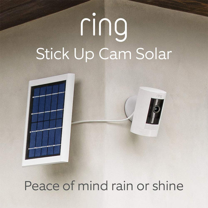 All-new Ring Stick Up Cam Solar | HD security camera with Two-Way Talk, white, works with Alexa
