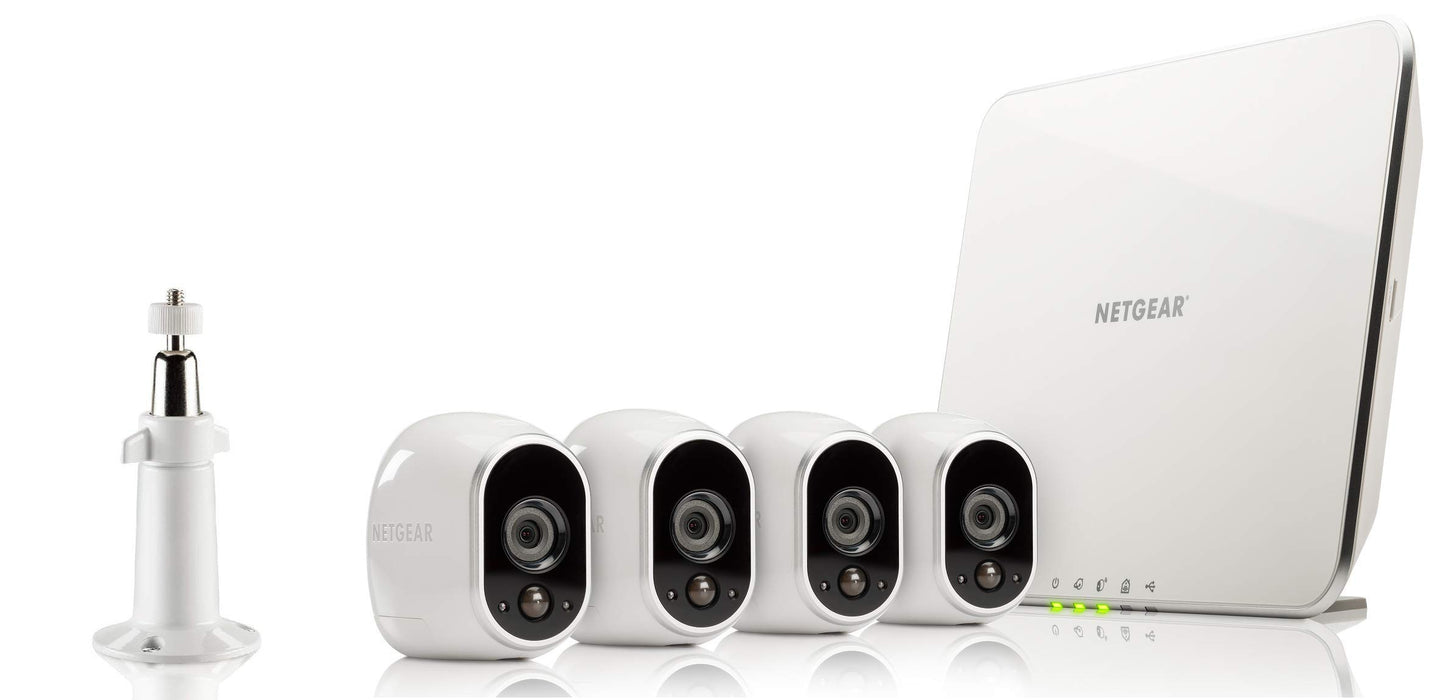 Arlo HD Smart Home Security Cameras | Wire-Free | Night Vision | Indoor/Outdoor | HD | Free Cloud Storage Included | 4 Camera Kit | VMS3430
