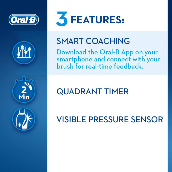 Oral-B Smart 5 5000 CrossAction Electric Toothbrush, 1 App Connected Handle, 5 Modes with Whitening, Sensitive and Gum Care, Pressure Sensor, 3 Toothbrush Heads, Plastic Travel Case, 2 Pin UK Plug