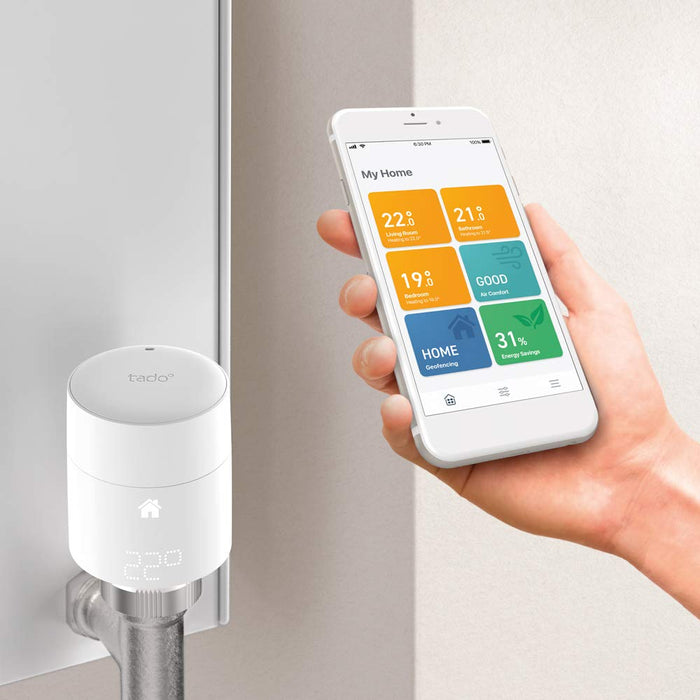 tado° Smart Radiator Thermostat Starter Kit V3+ (vertical mounting) - Intelligent heating control, works with Amazon Alexa, Apple HomeKit, Google Assistant, IFTTT