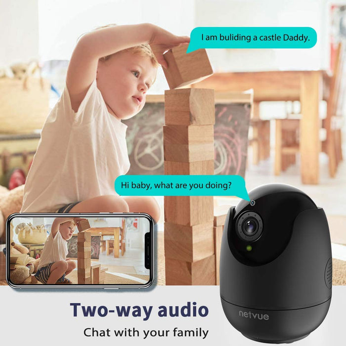 Netvue Home Security Camera, Work with Alexa Echo show 360 degree View, Wireless IP Camera with AI. Human Detection P/T/Z, TF Card Record, 2 Way Audio, Night Vision, Baby Monitor, Pet Camera