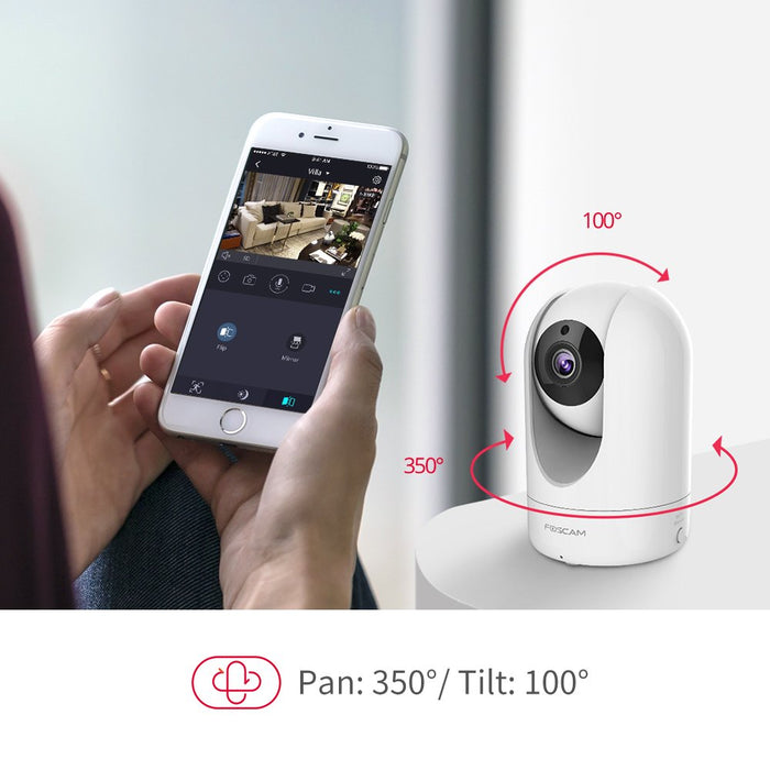 Foscam R2M WiFi Indoor IP Camera - 1080P HD Pan/Tilt Security Camera with Night Vision, 6x Digital Zoom, Wide Viewing Angle, Motion Detection Alerts, 2-Way Audio - Includes Free Cloud Storage Plan