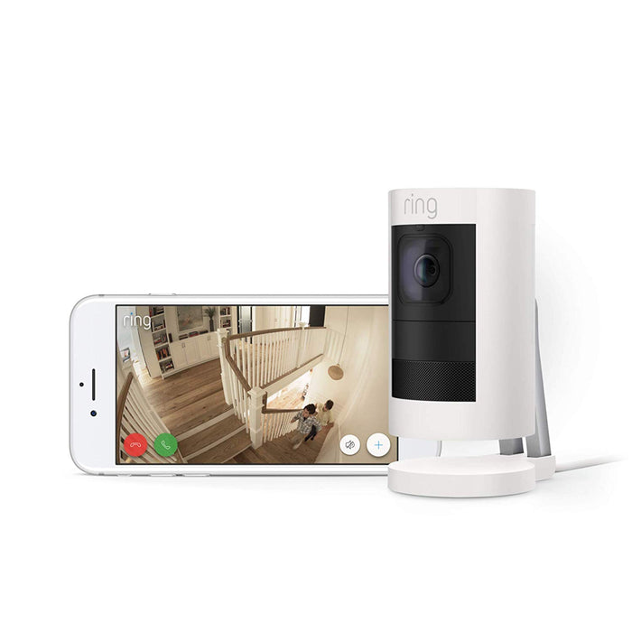 Ring Stick Up Cam Elite HD Security Camera with Two-Way Talk, White, Works with Alexa