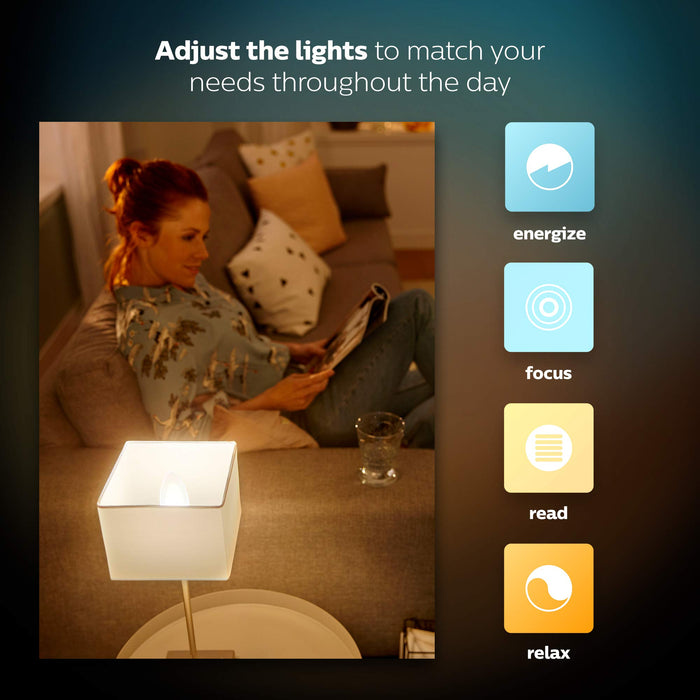 Philips Hue White Ambiance E14 LED Candle Extension, dimmable, all shades of white, controllable via app, compatible with Amazon Alexa (Echo, Echo Dot), 1-pack