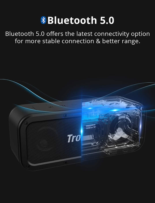 Bluetooth speaker 5.0, Tronsmart Force 40W Portable Speaker With 3D Stereo, Extra Bass, IPX7 Waterproof,15 Hours Playtime,TWS,Voice Assistant,100ft Bluetooth Range For Travel, Party, works with Alexa