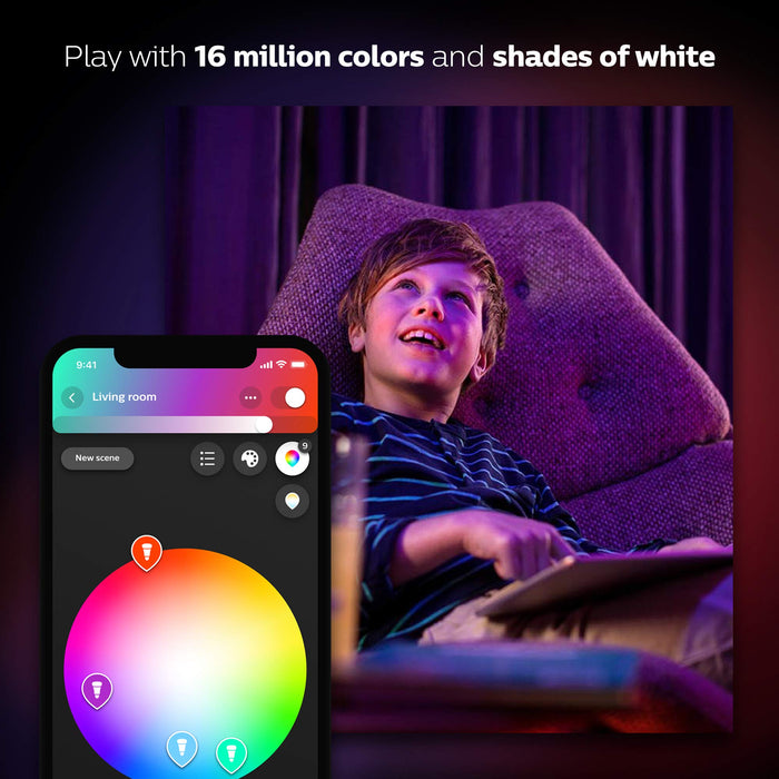 Philips Hue White and Colour Ambience Personal Wireless Lighting 2 x 9.5 W E27 Edison Screw LED Twin Pack Light Bulbs, Apple HomeKit Enabled, Works with Alexa