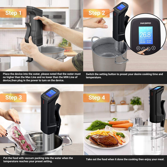 Inkbird Sous Vide ISV-100W WI-FI Culinary Cooker 1000 Watts Precise Temperature and Timer Stainless Steel Thermal Immersion Circulator for Kitchen