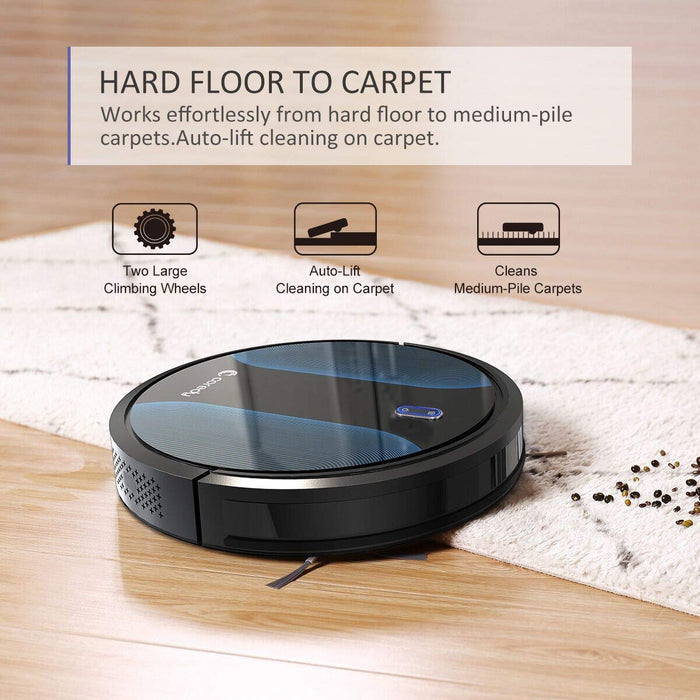 Coredy Robot Vacuum Cleaner - 1400Pa Max Suction, 2.7in Thin, Super Quiet, Auto Charge Robotic Vacuum, Pet Hair Care, Cleaning Robot with Anti-Drop & Collision Sensor, Works on Hard Floor to Carpet