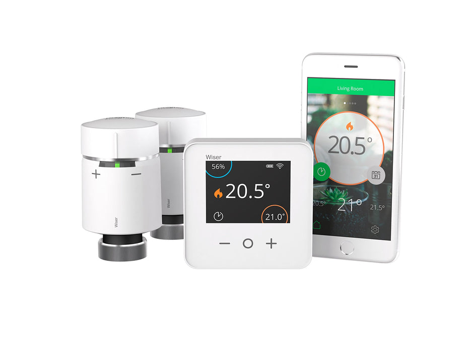 Drayton WISER Multi-Zone Smart Thermostat and 2 Smart Radiator Thermostat Kit - Conventional Boilers Only - Heating and Hot Water Control