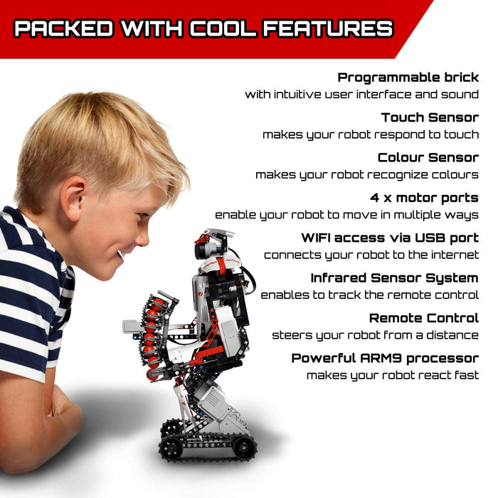 LEGO 31313 Mindstorms EV3 Robotics Kit, 5 in 1 App Controlled Model with Programmable Interactive Toy Robot, RC, Servo Motor and Bluetooth Hub, Coding Skills Boost Set for Kids