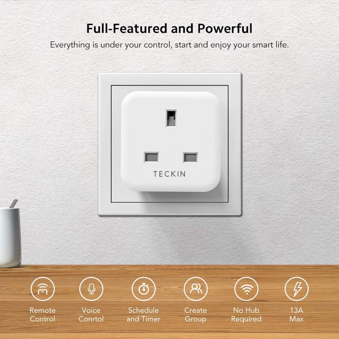Teckin Smart Plug 13A WiFi Socket Works with Alexa Echo Google Home IFTTT, Timing Function Remote Control No Hub Required 4 Pack