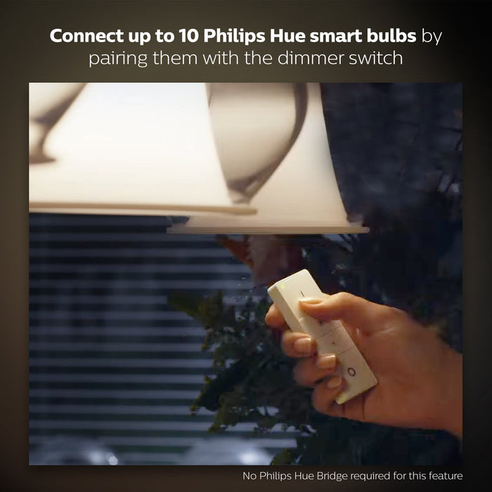 Philips 929001173761 Hue Smart Wireless Dimmer Switch (Installation-Free, Exclusive for Philips Hue Lights) - White