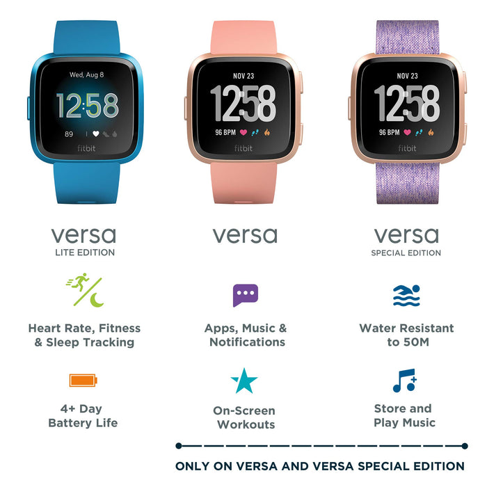 Fitbit Versa Lite Health & Fitness Smartwatch with Heart Rate, 4+ Day Battery & Water Resistance, Marina Blue