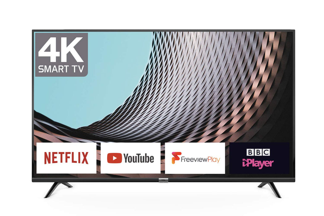 TCL 43DP628 43-Inch 4K UHD Smart TV - HDR10 / Freeview Play / BBC iPlayer / Netflix 4K / YouTube 4K, Work with Alexa, Wi-Fi ,2*HDMI, 1*USB Port [Energy Class A+] Black