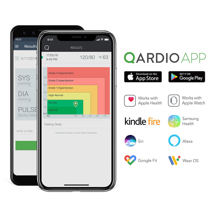 QardioArm Smart Blood Pressure Monitor: Wireless, Medically Accurate, Easy to Use, Compact Digital Upper Arm Cuff. Free App for iOS, Android, Kindle, Apple Watch. Syncs with Apple and Samsung Health
