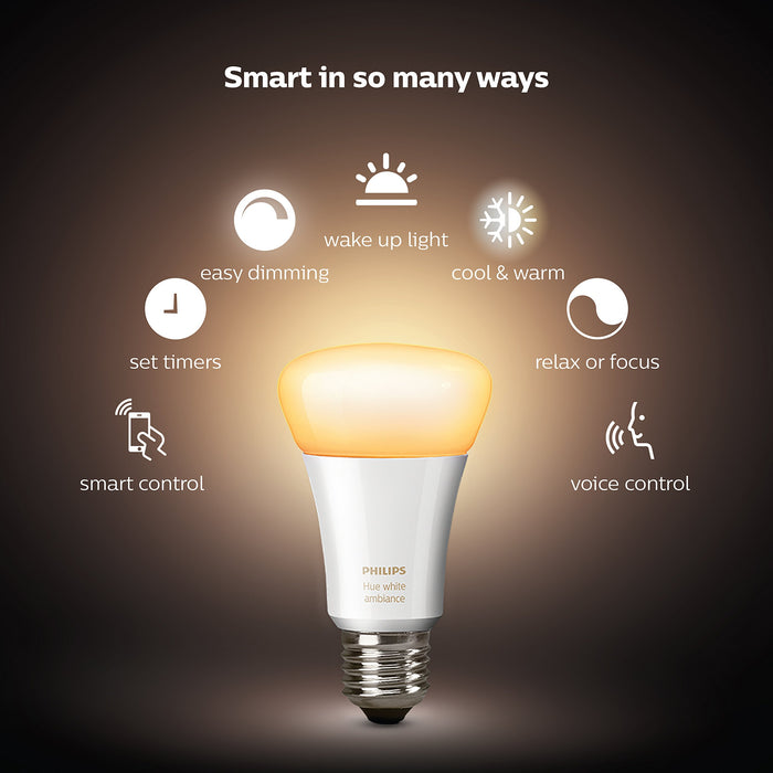 Philips Hue White Ambience A19 E27 60W Equivalent Smart Bulb Starter Kit