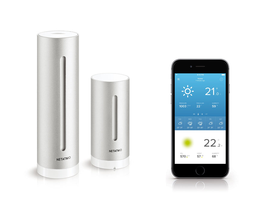 Netatmo Weather Station Indoor Outdoor with Wireless Outdoor Sensor - Compatible with Amazon Alexa, NWS01-EU