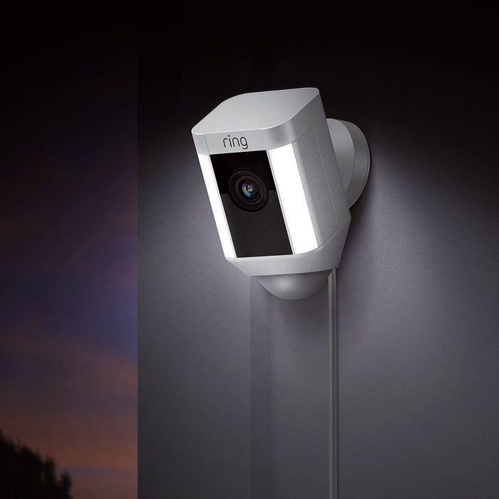Ring Spotlight Cam Wired | HD Security Camera with LED Spotlight, Alarm, Two-Way Talk, UK Plug