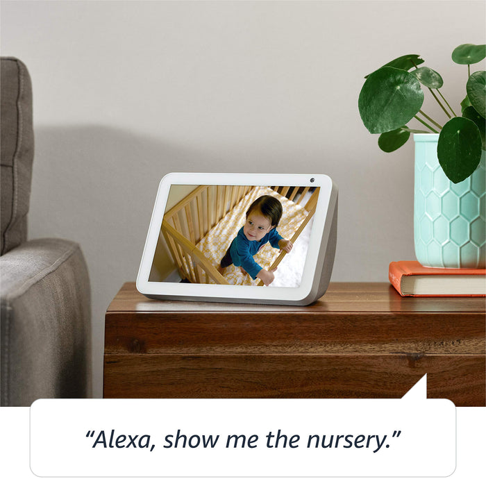 "Introducing Echo Show 8 | 8"" HD smart display with Alexa, Sandstone fabric"
